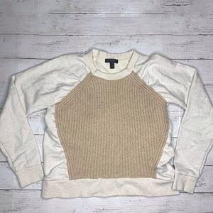 J.Crew Ribbed Sweater Front Beige Sweatshirt XS